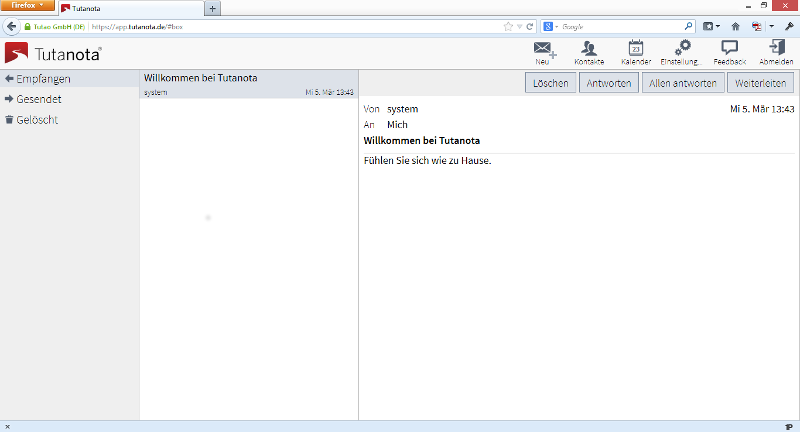 Tutanota encrypted email client back in 2014