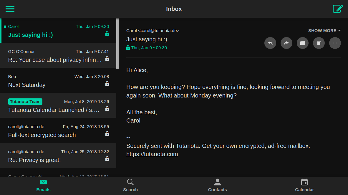 Tutanota encrypted email client in 2018