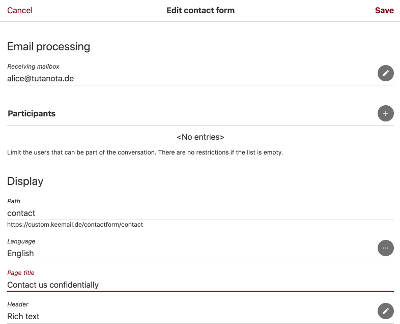 Create contact forms